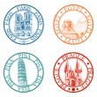 Detailed travel stamps collection: Pisa, Paris, Prague, Egypt — ストックベクタ