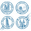 Ink travel stamps collection: Pisa, Paris, Prague, Egypt — Stok Vektör