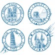 Ink travel stamps collection: Pisa, Paris, Prague, Egypt — ストックベクタ