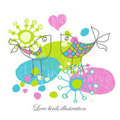 Love birds illustration — Stock Vector