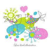Love birds illustration — Stock Vector