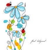 Historia de amor de flores y mariquitas — Vector de stock