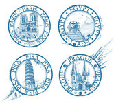 Ink travel stamps collection: Pisa, Paris, Prague, Egypt — Stock Vector