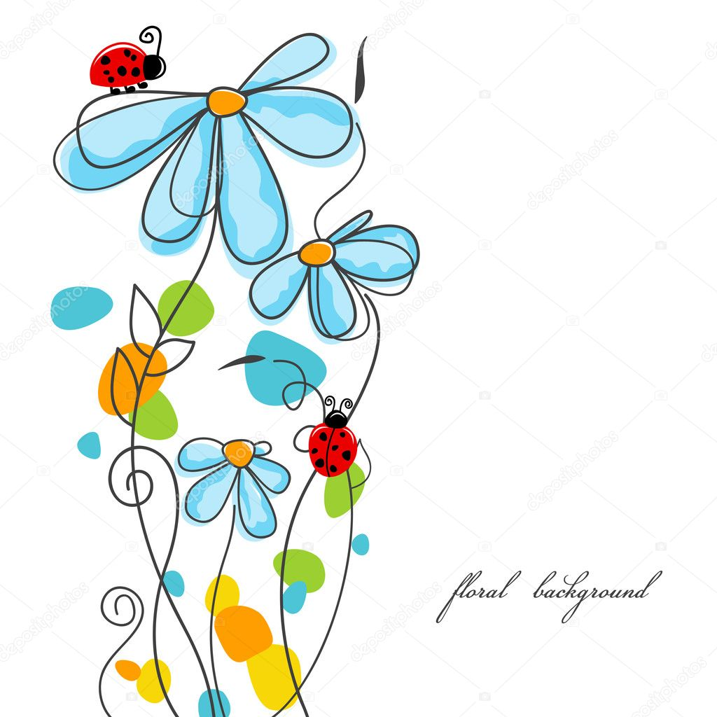 Flowers and ladybugs love story  — Stock Vector #5687972