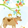 Cute cow and bird friendship — Stock Vector