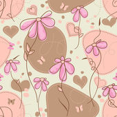 Pink flowers and hearts seamless pattern — ストックベクタ
