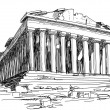 Stock Vector: Greece Parthenon sketch