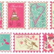 Cute retro wedding stamps — Stock Vector