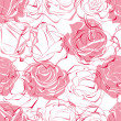Stock Vector: Pink roses seamless pattern