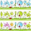 Summer floral decorative lines — Stock Vector