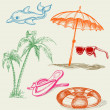 Summer beach items — Stock Vector #5904227