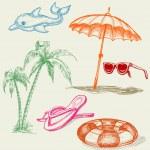 Summer beach items — Stock Vector