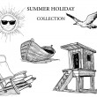 Summer beach collection of drawings - Stok Vektör