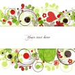Vector retro floral borders or banner — Stock Vector