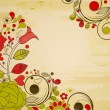 Old paper background, retro floral decorations — Stock vektor