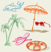 Summer beach items — Stockvector