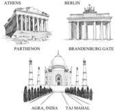 Iconic buildings, famous travel destinations — Stock Vector