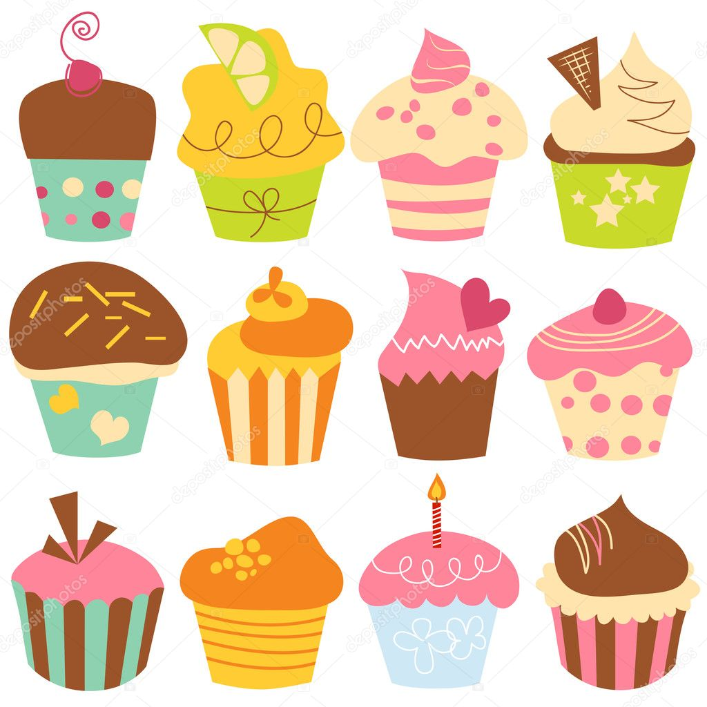 Cute cupcakes set  Stockvectorbeeld #5963333
