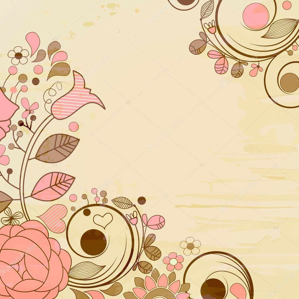 Antigua p gina de papel decoraciones florales vector de - Pagina de decoracion ...