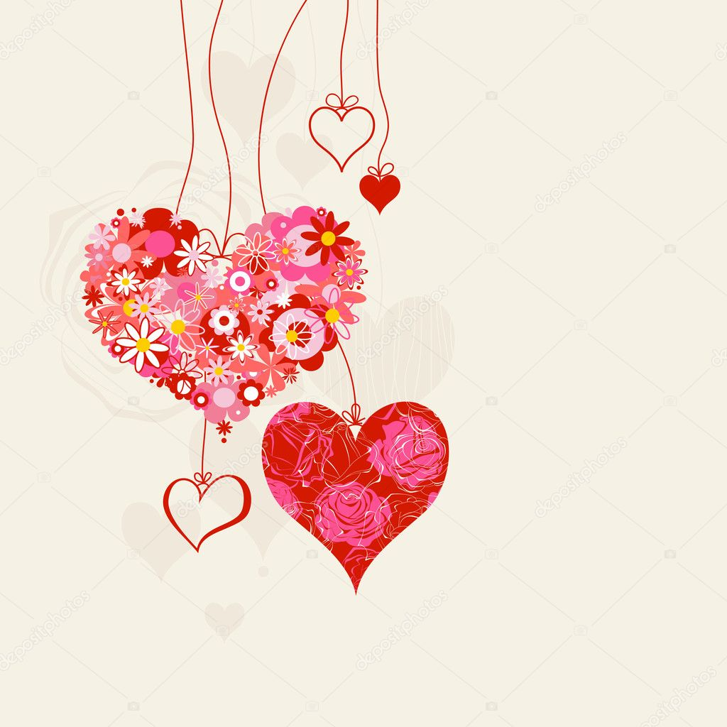 Hearts on strings romantic background  — Vettoriali Stock  #6019969