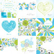 Set of greeting cards — Image vectorielle
