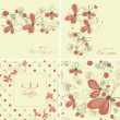 Stock Vector: Vintage floral cards collection