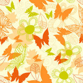 Flowers and butterflies seamless pattern — Stock Vector