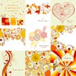 Vector set of greeting cards in autumn colors - Imagen vectorial