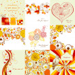 ストックベクタ: Vector set of greeting cards in autumn colors