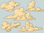 Nubes vintage — Vector de stock