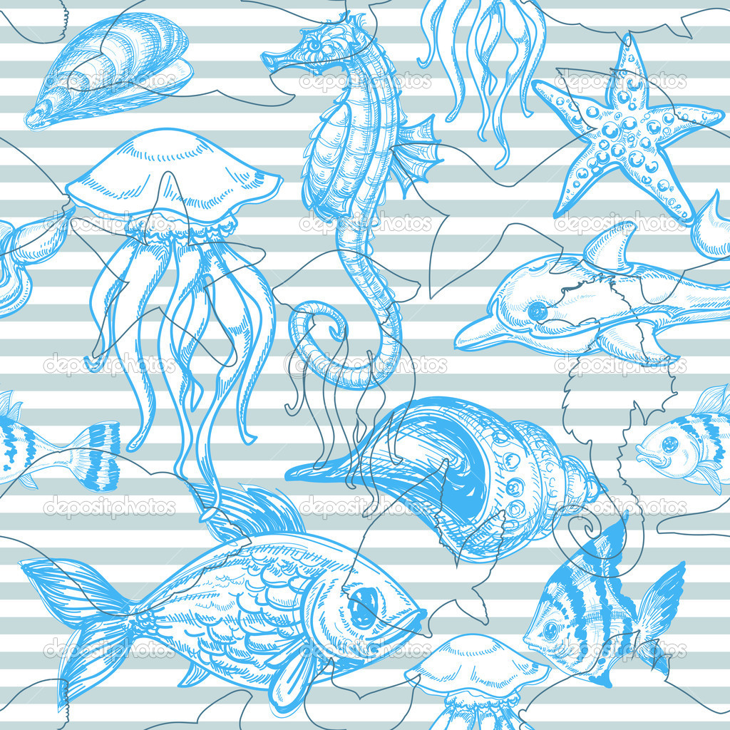 Sea seamless pattern   Imagens vectoriais em stock #6255119