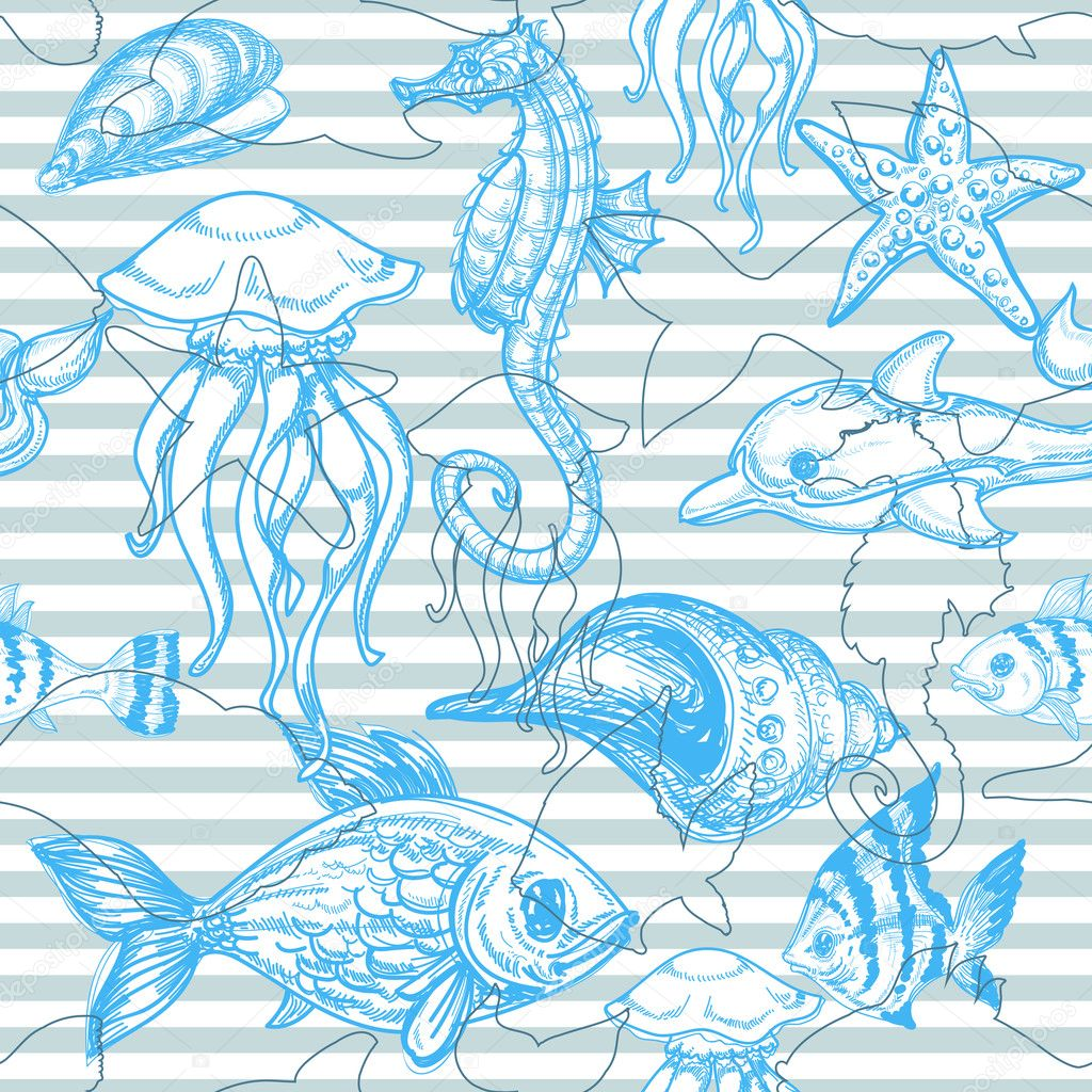 Sea seamless pattern   Imagen vectorial #6255119