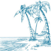Playa tropical — Vector de stock