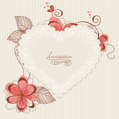 Lace floral heart — Stock Vector