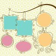 Cute frames hanging, retro style — Vector de stock