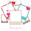 Hanging cute photo frames — Stock Vector