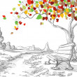 Autumn tree, falling leaves — Vector de stock