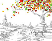 Autumn tree, falling leaves — Stockvector