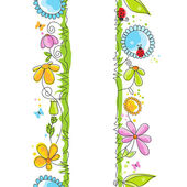 Lindos bordes florales — Vector de stock