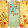Vintage paper floral banners - Stok Vektr
