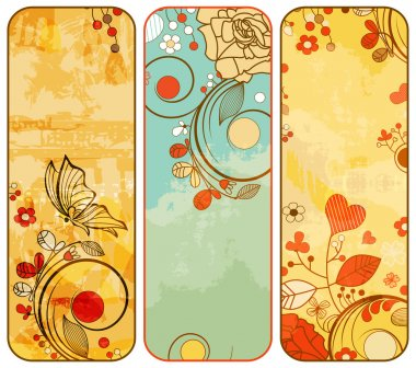 Vintage paper floral banners