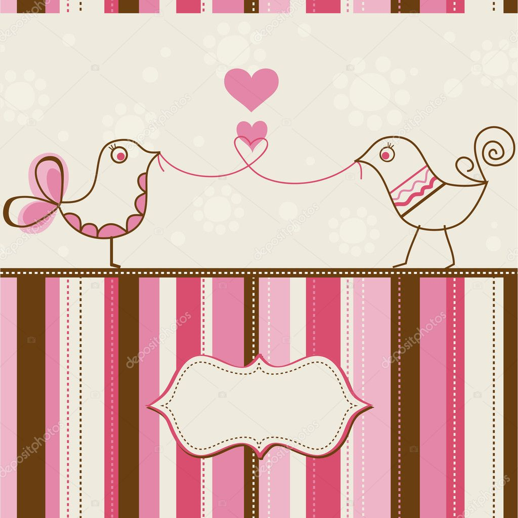 Birds love greeting card  — Stock Vector #6653058