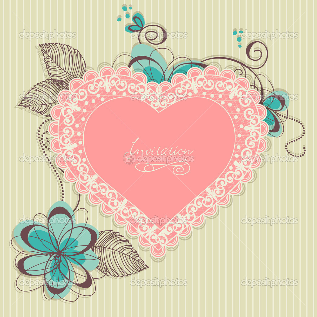Retro romantic background, lace heart and flowers  — Stock Vector #6653421