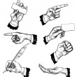 Hands in different gestures — Vector de stock