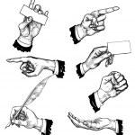 handen in verschillende gebaren — Stockvector