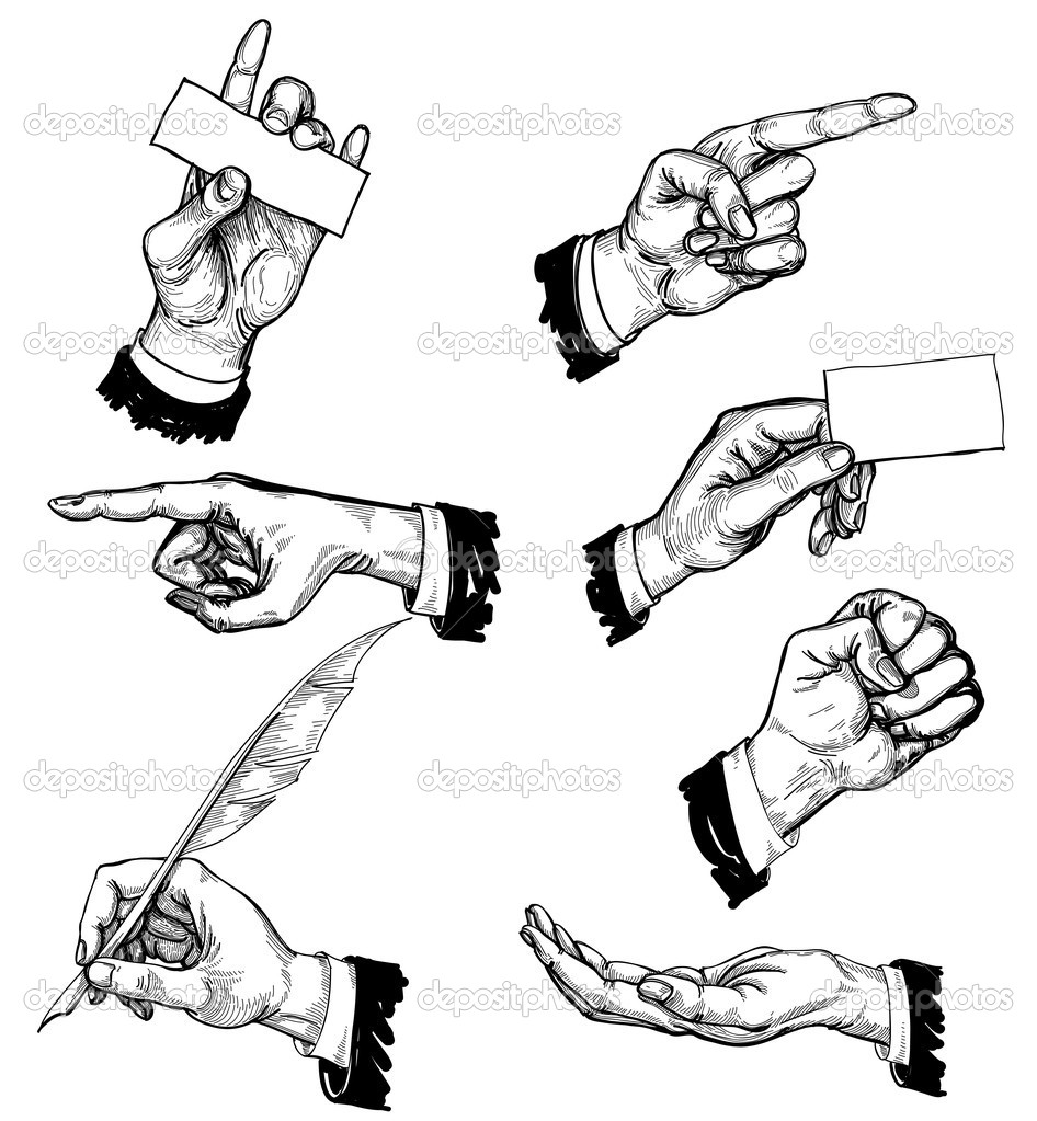 Hands in different gestures — Stock Vector #6677243