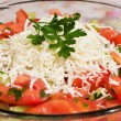 Ready made typical and traditional salad of tomatoes, cucumber and cheese — Stock Photo #5823971