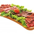 Cold cuts on plateau — Stock Photo