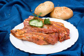 Meat in plate — Stock Photo