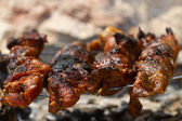 Pork skewers on wooden coals — Stock Photo
